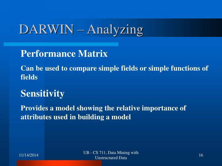 DARWIN – Analyzing