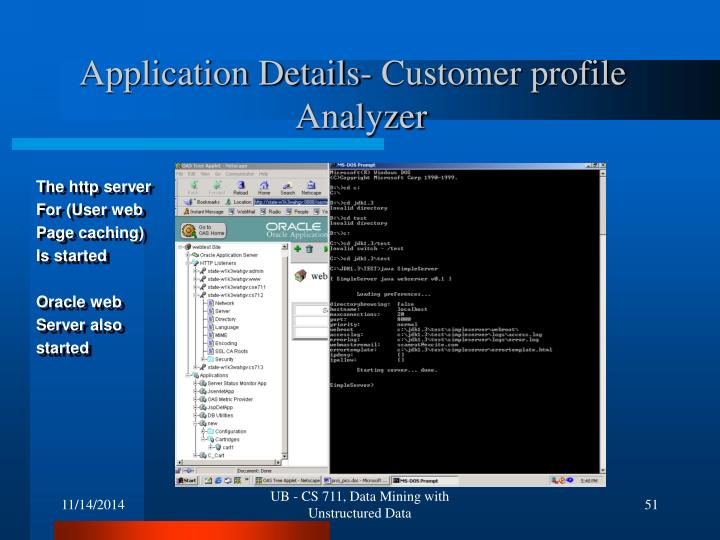 Application Details- Customer profile 				Analyzer