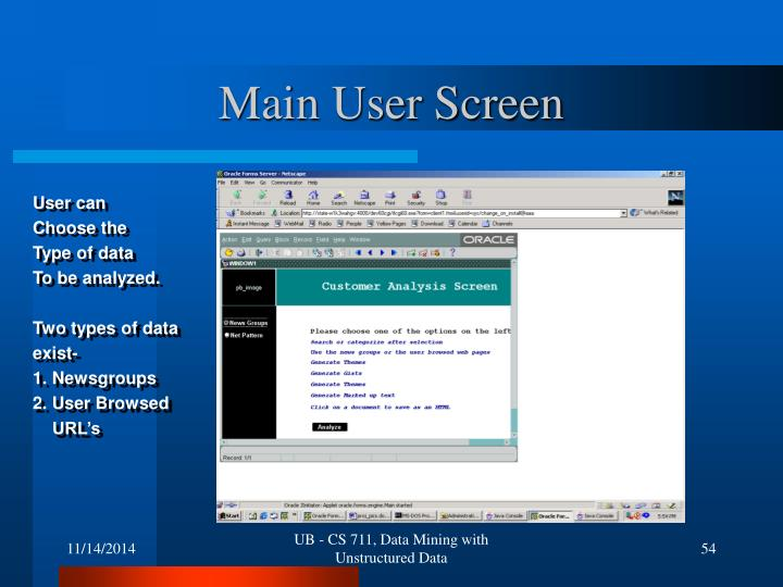 Main User Screen