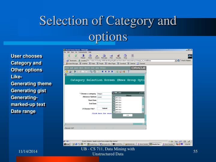 Selection of Category and options