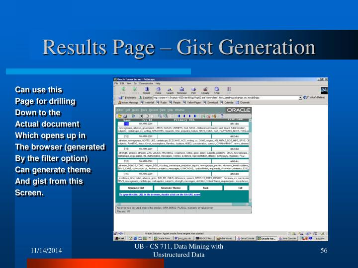 Results Page – Gist Generation