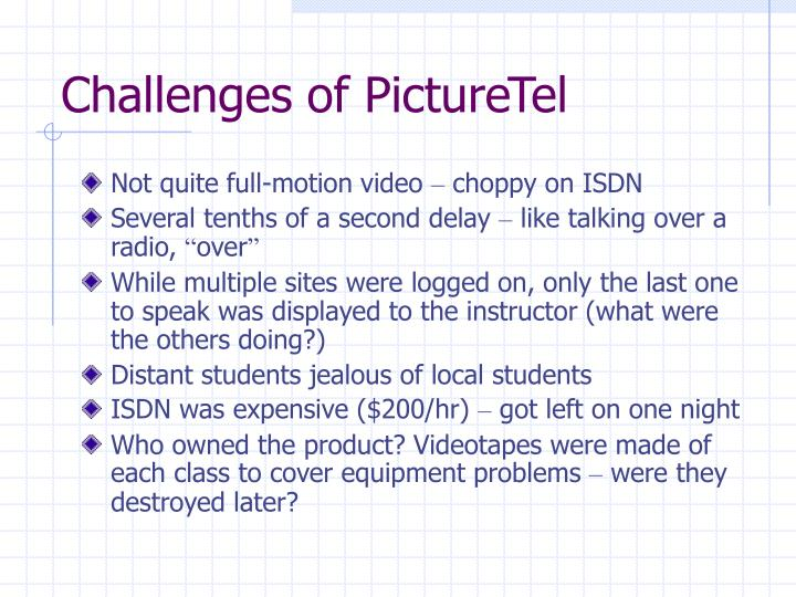 Challenges of PictureTel