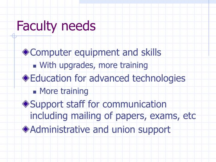 Faculty needs