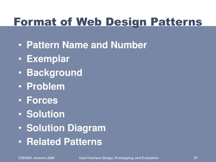 Format of Web Design Patterns
