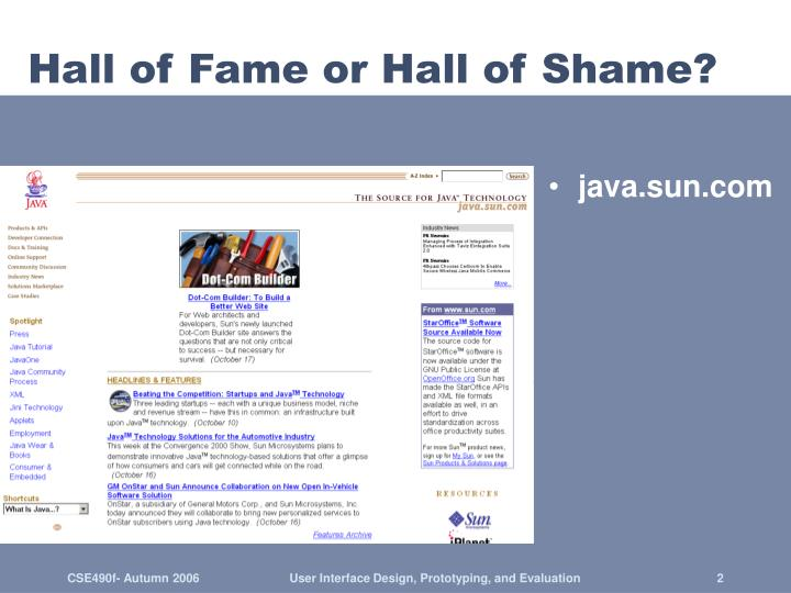 Hall of fame or hall of shame