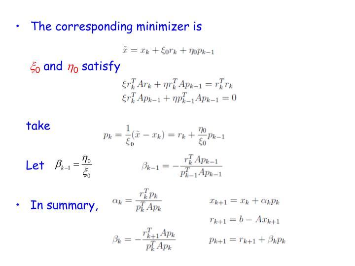 The corresponding minimizer is