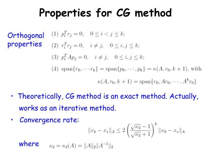 Properties for CG method