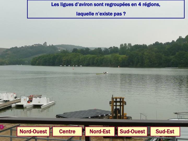 Les ligues d'aviron sont regroupées en 4 régions,