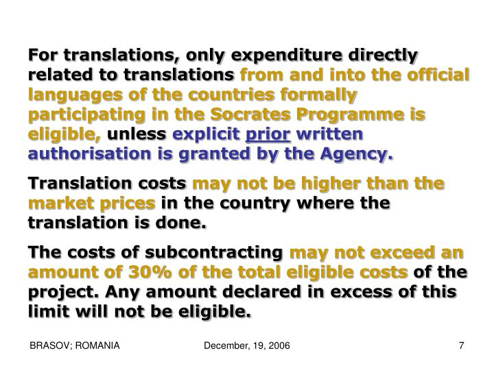 For translations, only expenditure directly related to translations