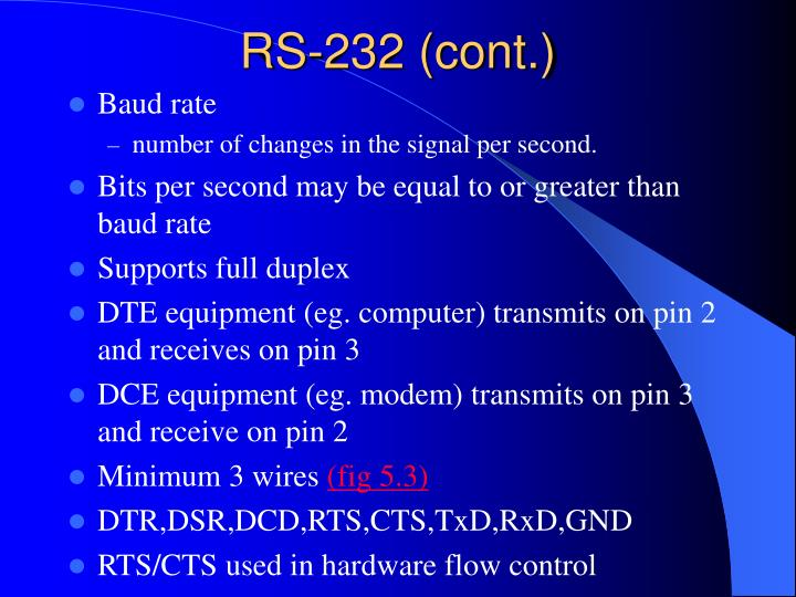 RS-232 (cont.)