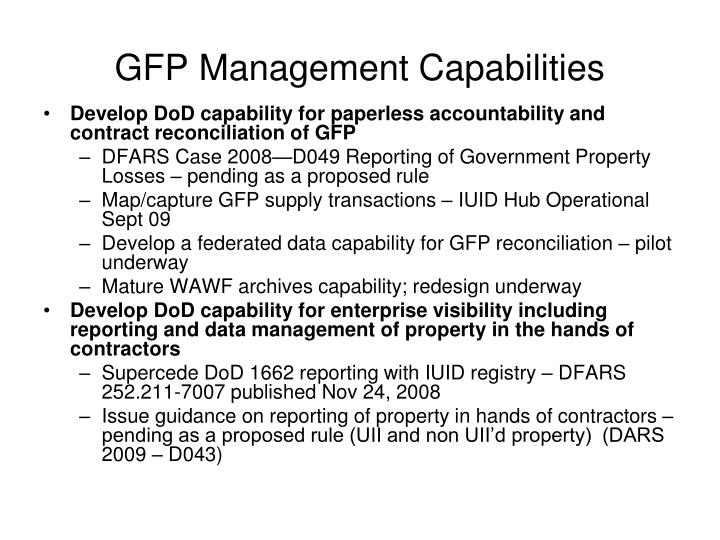 GFP Management Capabilities
