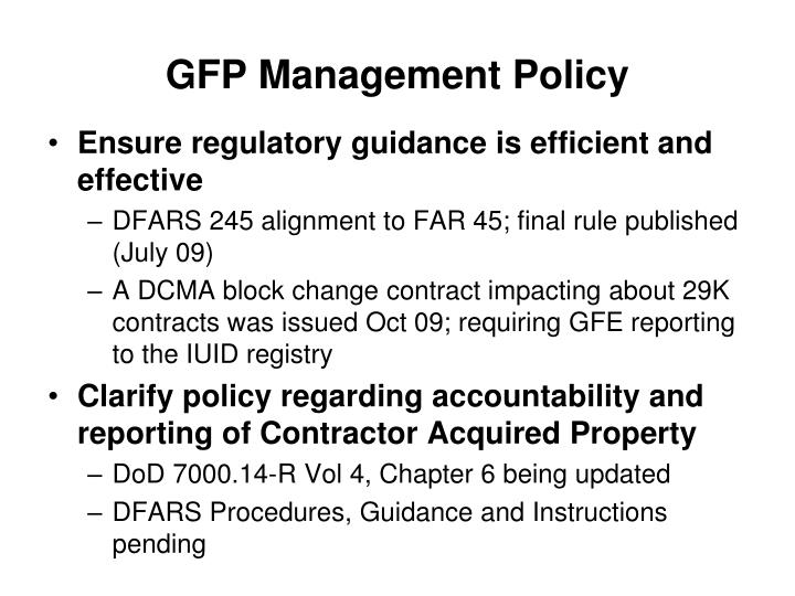 GFP Management Policy