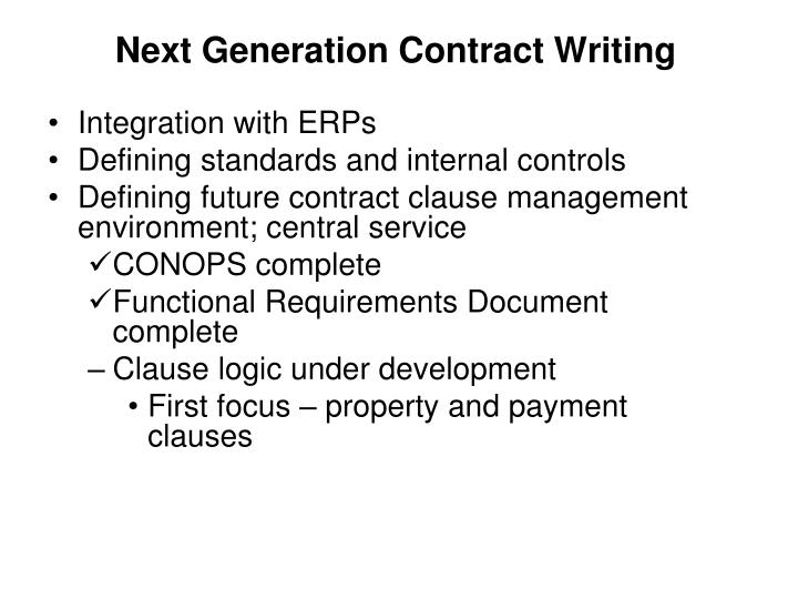 Next Generation Contract Writing