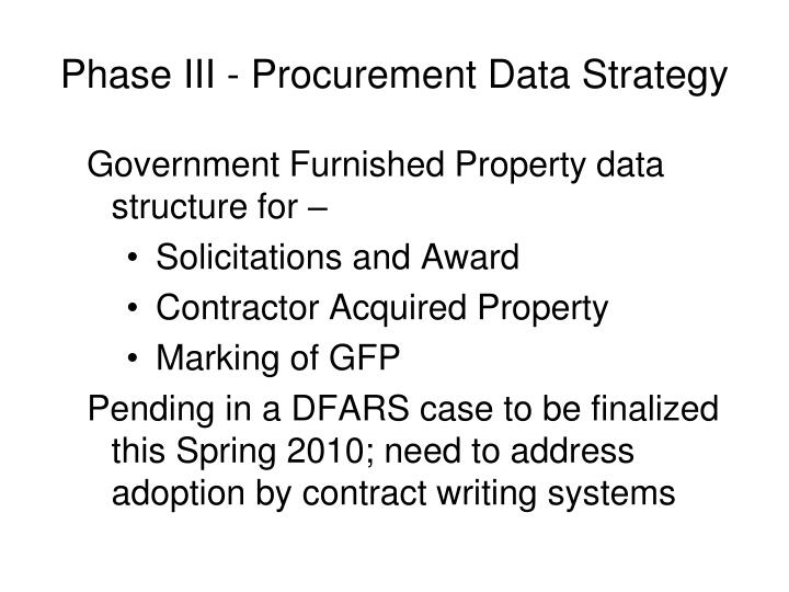 Phase III - Procurement Data Strategy