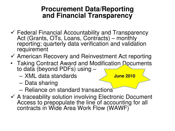Procurement data reporting and financial transparency