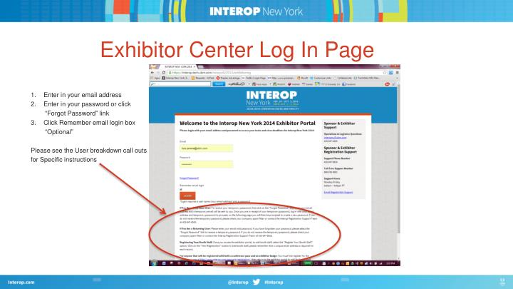 Exhibitor Center Log In Page