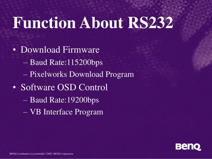 Function About RS232