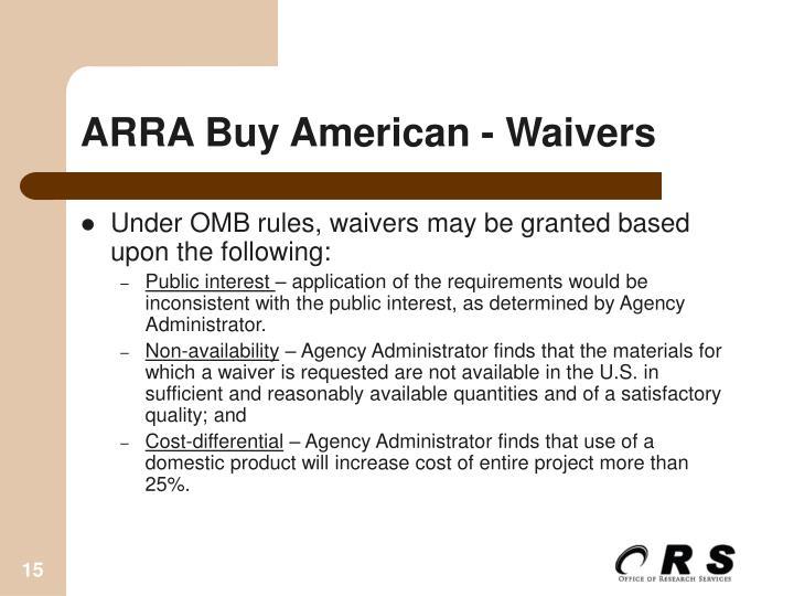 ARRA Buy American - Waivers