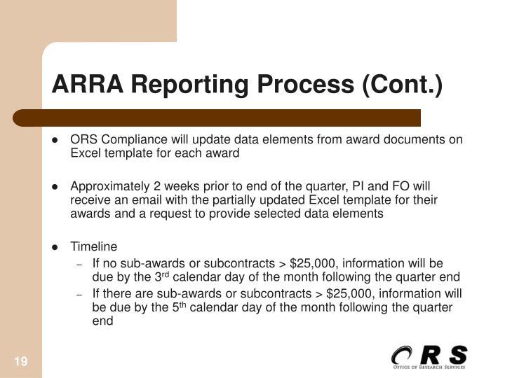 ARRA Reporting Process (Cont.)
