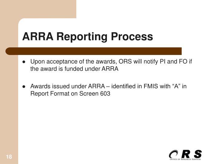 ARRA Reporting Process