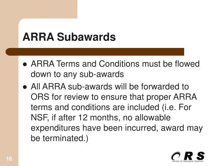 ARRA Subawards