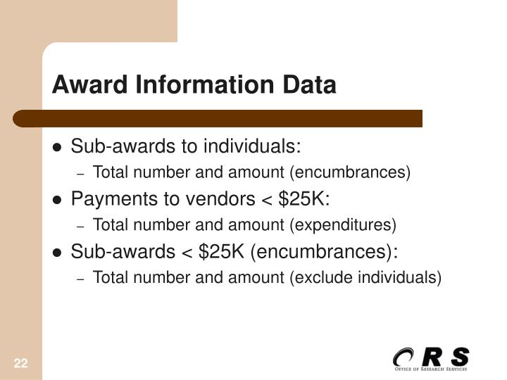 Award Information Data