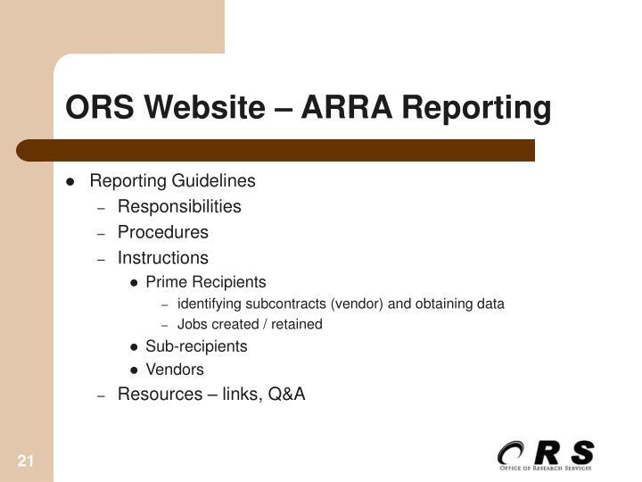 ORS Website – ARRA Reporting