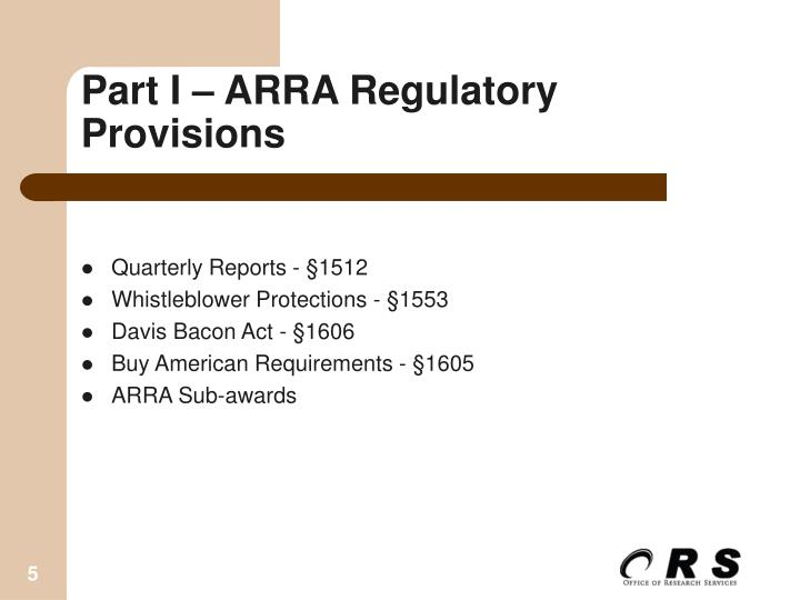 Part I – ARRA Regulatory Provisions