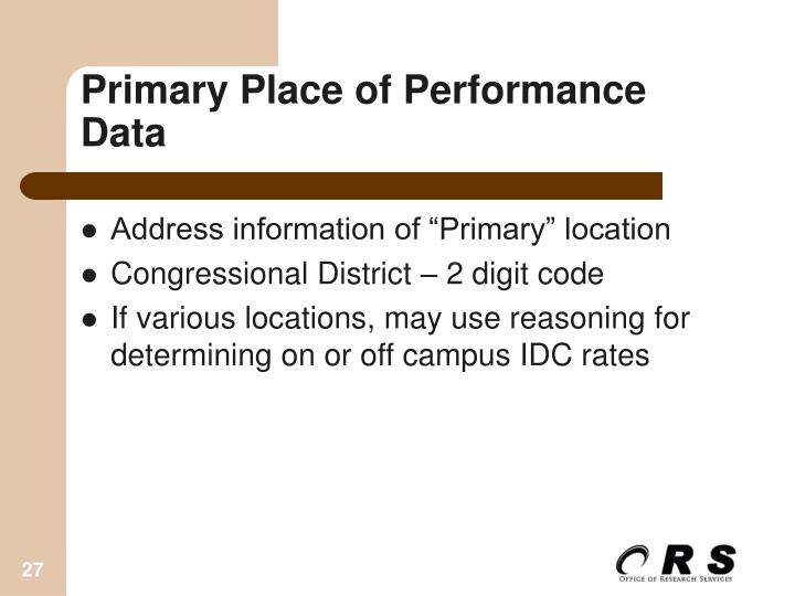 Primary Place of Performance Data