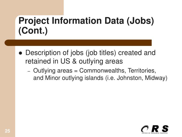 Project Information Data (Jobs)  (Cont.)