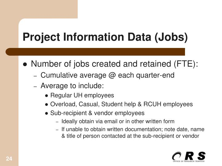 Project Information Data (Jobs)