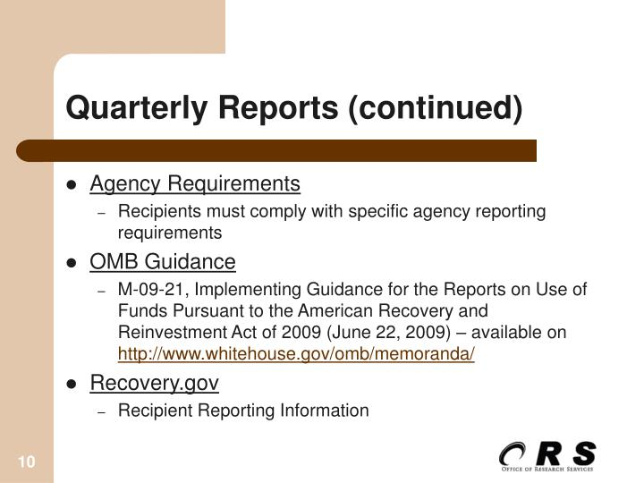 Quarterly Reports (continued)