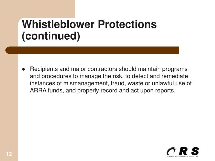 Whistleblower Protections (continued)