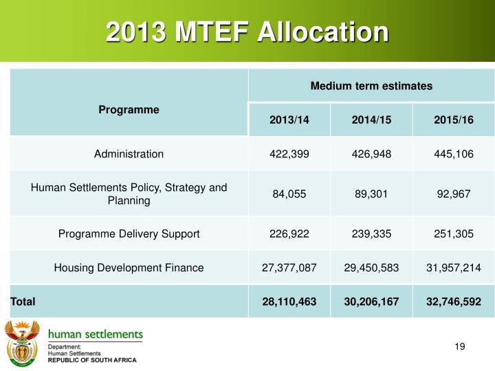 2013 MTEF Allocation
