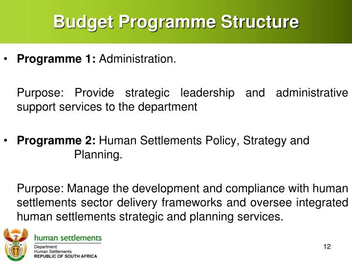 Budget Programme Structure