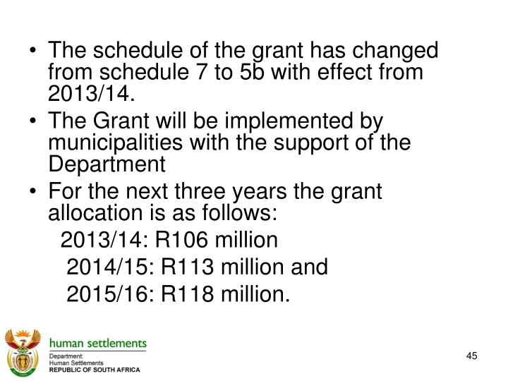 The schedule of the grant has changed from schedule 7 to 5b with effect from 2013/14.