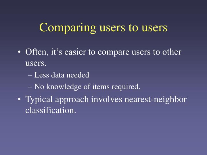 Comparing users to users