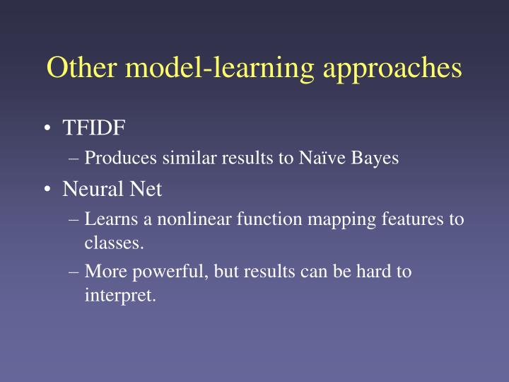 Other model-learning approaches