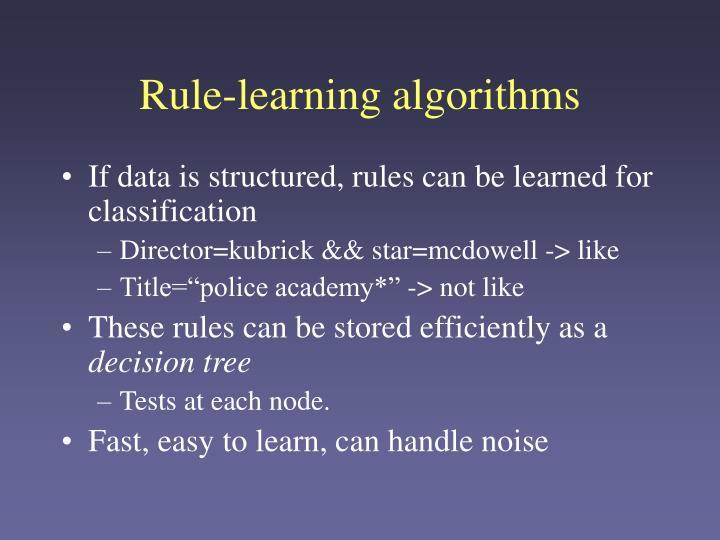 Rule-learning algorithms