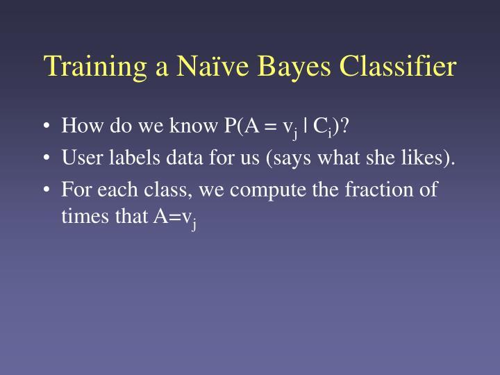 Training a Naïve Bayes Classifier