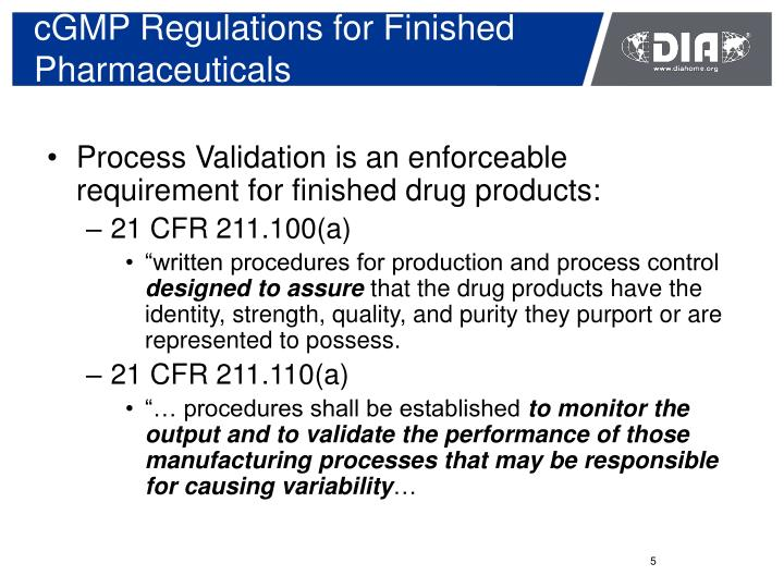 cGMP Regulations for Finished Pharmaceuticals