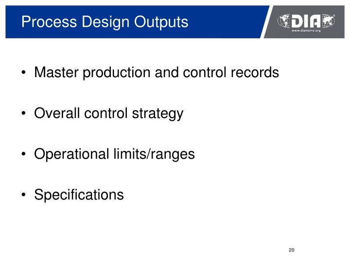 Process Design Outputs