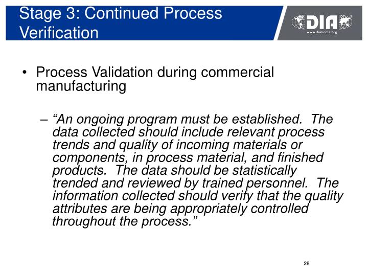 Stage 3: Continued Process Verification
