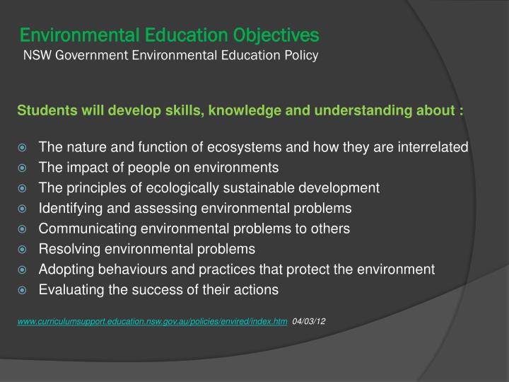 Environmental Education Objectives