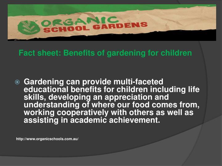 Fact sheet: Benefits of gardening for children