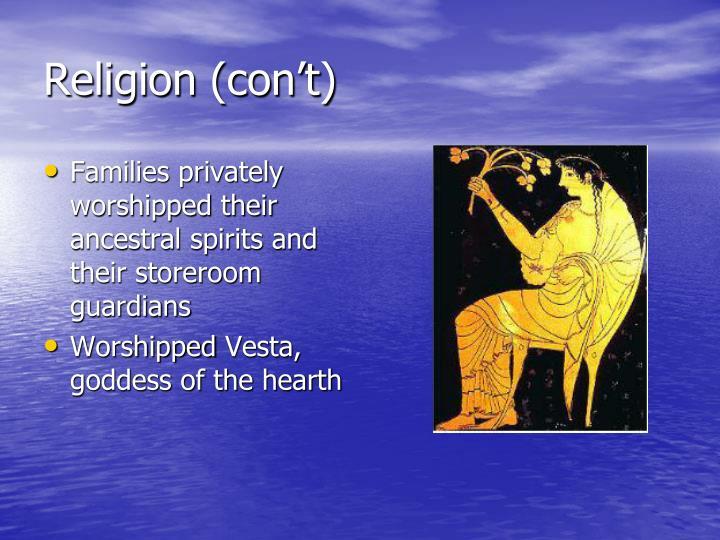 Religion (con't)