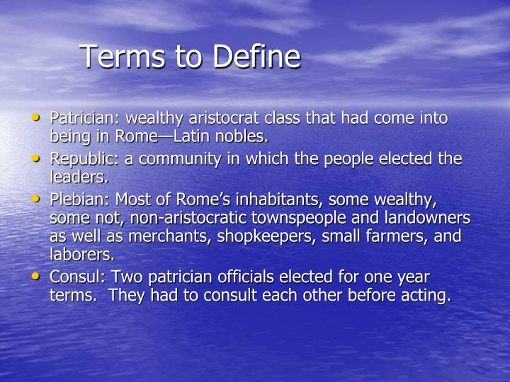 Terms to Define