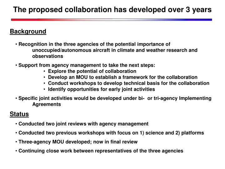 The proposed collaboration has developed over 3 years