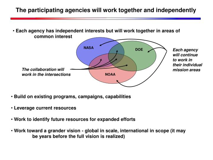 The participating agencies will work together and independently