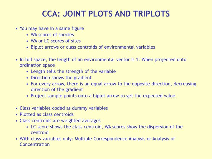 CCA: JOINT PLOTS AND TRIPLOTS
